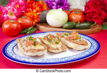 Mexican Molletes Dish - Molletes mexican dish which is a...