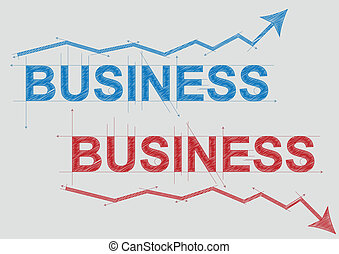 business text - illustration of business text with arrow,...