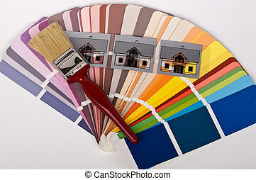 paint brush and houses in different colors