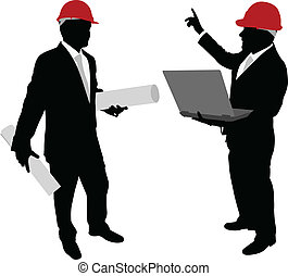 business people with hardhat holding laptop and plans -...