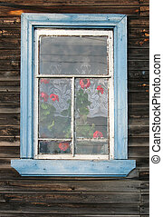 Rustic window with Pelargonium - Rustic window with...