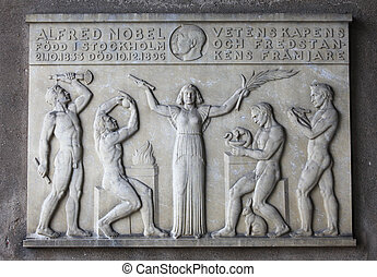 Plaque for Alfred Nobel in Stockholm - Memorial plaque for...