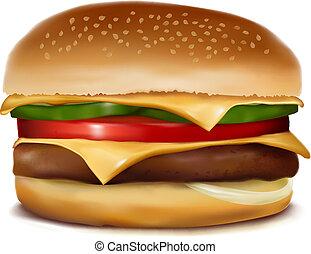 cheeseburger, vetorial, Ilustração