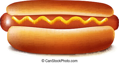 Hot dog with ketchup and mustard - Vector illustration of...