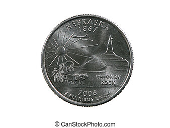isolated Nebraska quarter - Nebraska state quarter coin...