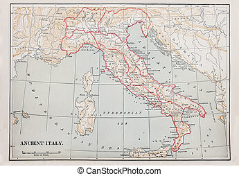 ancient Italy map - map of ancient Italy from 1896 book