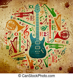 Vintage music background - Multicolored music instruments...