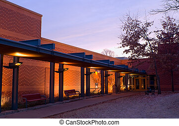 West Saint Paul Public Library and Walkway at Sunrise -...