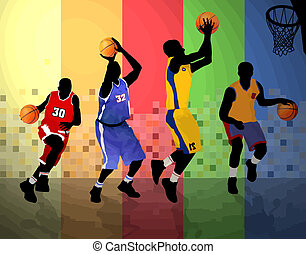 Basketball players on abstract background, vector...