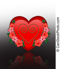 Valentine Heart and flowers