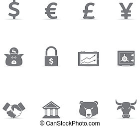 Single Color Icons - Finance - Finance icon set. Font used:...