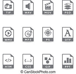 Single Color Icons - File Formats - File format icon set in...