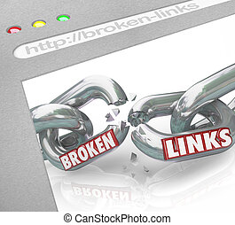 Bad Broken Links Website Screen Chain Connections - A web...