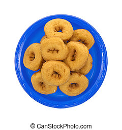 Doughnuts on blue plate
