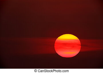 big sun - Sunset with a big red sun