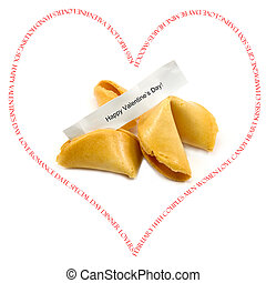 Fortune Cookie Valentines Day Concept - A heart shaped with...