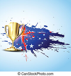 vector trophy - vector golden trophy on abstract background