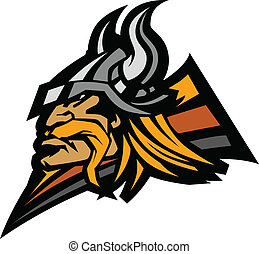 Viking Mascot Vector Graphic with H - Viking Norseman with...