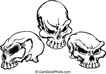 Skulls Group with Graphic Vector Im - Group of 3 Graphic...