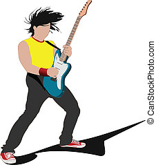 Guitar player isolated on the white background. Vector...