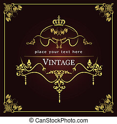 Invitation vintage card. Wedding or Valentine`s Day. Vector...