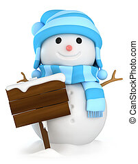 Snowman Board - 3D Illustration of a Snowman Holding a Blank...