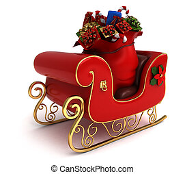 Christmas Sleigh - 3D Illustration of a Christmas Sleigh...