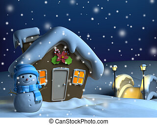 Christmas House Background - 3D Illustration of a House with...