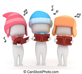 Christmas Carol - 3D Illustration of Kids Singing a...