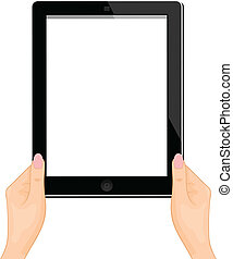 Illustration of the computer tablet in a hand of the woman isolated on a white background - vector