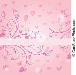 floral card with heart for Valentine's day