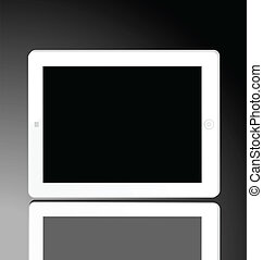 Illustration of the turned off white computer tablet -...