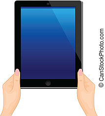 Illustration of the turned on computer tablet in a hand of the woman isolated on a white background - vector