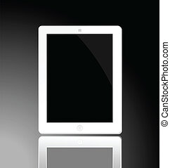 Illustration of the turned off white horizontal computer tablet with reflection - vector