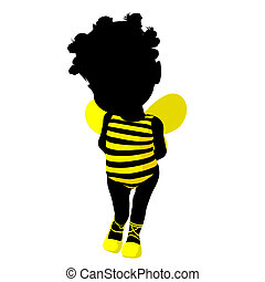 Little African American Bumble Bee Girl Illustration Silhouette