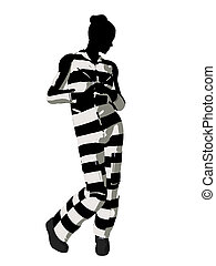 Female Criminal Silhouette Illustration - Female criminal on...