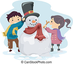 Kids Making a Snowman - Illustration of Kids Making a...