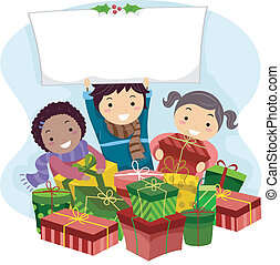 Christmas Gifts - Illustration of Kids Opening Christmas...