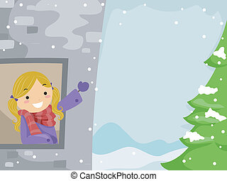 White Christmas - Illustration of a Girl Enjoying the Snow