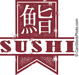 Sushi Restaurant Banner - Traditional Japanese characters...
