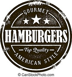 Classic Hamburger Stamp - Vintage hamburger graphic in...