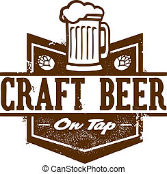 Craft Beer Graphic - Distressed style craft beer on tap sign...