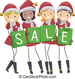Christmas Sale - Illustration of Teens Holding Shopping Bags...