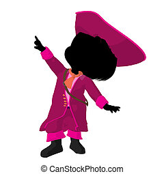 Little Pirate Girl Illustration Silhouette - Little pirate...