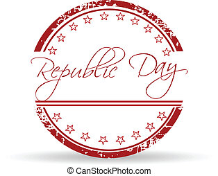 Red grunge rubber stamp with text Republic Day and stars on...