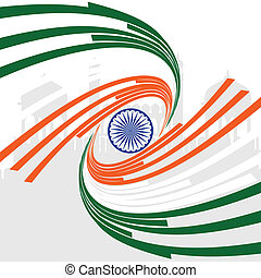 A card of Republic Day, Indian flag in wave style on...