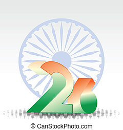 3D text of 26 numbers in orange and green color with Asoka wheel on white background for Republic Day.