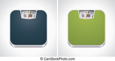 Vector bathroom weight scale icon - Square icon representing...
