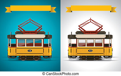 Vector retro tram XXL icon - Detailed old tramway on white...