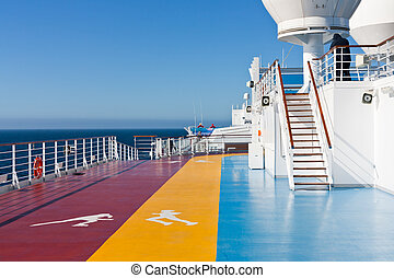 jogging tracks in recreation area on cruise liner - jogging...